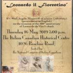Leonardo, il fiorentino: una conferenza alla Dante di Ottawa
