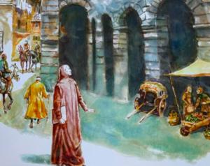 particolare dell'immagine di Zuc di Dante all'Arena di verona